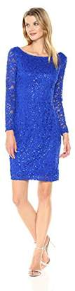 Marina Women's All Over Lace Dress Long Sleeve Scoop Back
