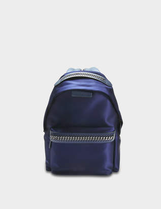 Stella McCartney Satin Embossed Logo Falabella Go Backpack in Navy Polyurethane, Elastane, Polyester