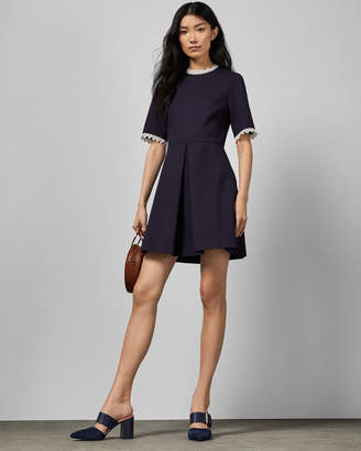 Ted Baker BLUSSUM Cotton broderie A-line dress