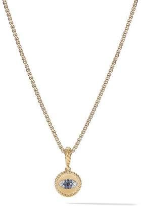 David Yurman 18kt yellow gold Amulets diamond and sapphire Evil Eye pendant