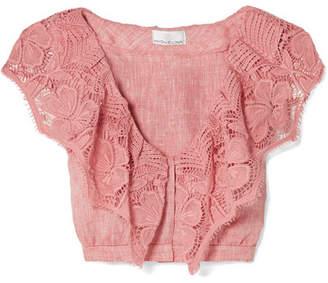Miguelina Rosalie Crochet-trimmed Linen Top - Pink