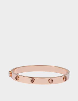 Tory Burch Logo Stud Hinge Bracelet in Gold Pink Stainless Steel