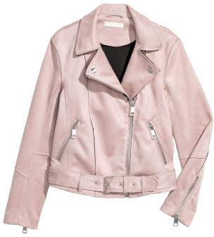 H&M Faux Suede Biker Jacket - Pink