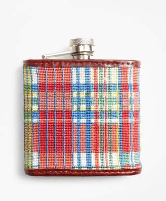 Brooks Brothers Madras Needlepoint Flask