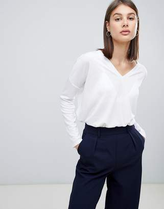 Asos Design DESIGN top with v-neck in oversized lightweight rib in white