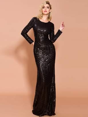Shein Missord Striped Bodycon Sequin Formal Dress