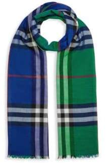 Burberry Colorblock Check Wool& Silk Scarf