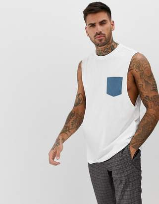 Asos Design DESIGN organic relaxed sleeveless t-shirt with dropped armhole with contrast pocket in white