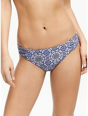 John Lewis & Partners Riad Tile Side Ruched Bikini Briefs, Blue/Silver