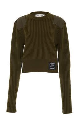 Proenza Schouler PSWL Paneled Cable-Knit Wool And Cotton-Blend Sweater