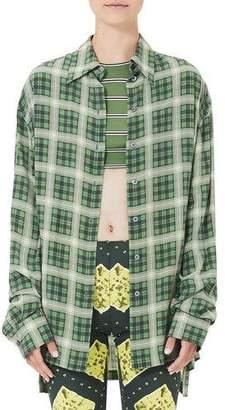 Marc Jacobs Plaid Silk Button-Front Blouse