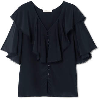 Chloé Lace-trimmed Ruffled Silk Crepe De Chine Blouse