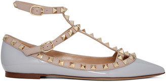 Valentino Grey Patent Rockstud Cage Flats $975 thestylecure.com