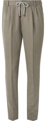 Brunello Cucinelli Olive Herringbone Cotton and Linen-Blend Suit Trousers