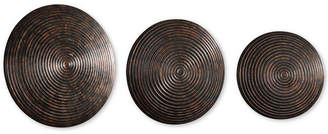 Uttermost Hanneli 3-Pc. Ribbed Bronze-Tone Circles Wall Art Set