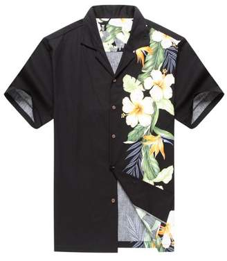 Hawaii Hangover Made in Hawaii Men's Aloha Shirt Side Bird of Paradise Hibiscus Floral in Black