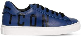 DSQUARED2 Icon Printed Leather Sneakers