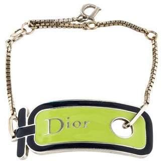 Christian Dior Enamel Logo Charm Bracelet