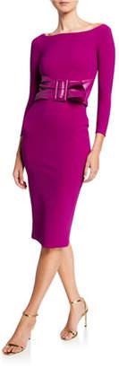 Chiara Boni Bateau-Neck 3/4-Sleeve Belted Dress