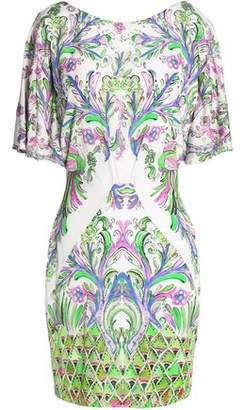 Roberto Cavalli Draped Printed Jersey Mini Dress