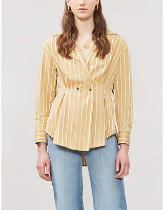 575a8e1c0f Sandro Mathilde striped fit-and-flare cotton-twill shirt