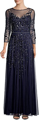 David Meister Embellished Tulle Gown
