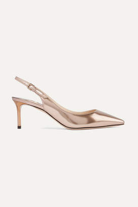 Jimmy Choo Erin 60 Metallic Leather Slingback Pumps - Antique rose