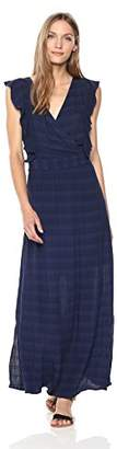 Michael Stars Women's Plisse Stripe Ruffle Maxi Dress