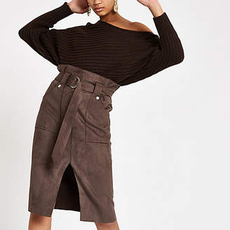 River Island Womens Brown suede paperbag waist belted midi skirt