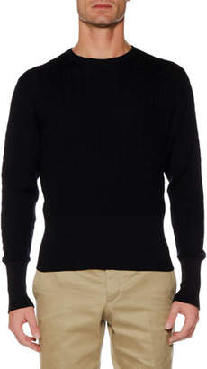 Thom Browne Baby Cable Merino/Cotton Crewneck Pullover Sweater
