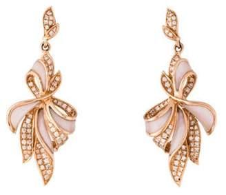 Mother of Pearl 14K & Diamond Ribbon Drop Earrings rose 14K & Diamond Ribbon Drop Earrings