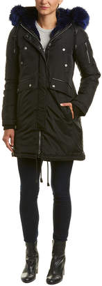 Brera Nicole Benisti Leather-Trim Down Coat