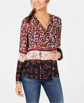 Tommy Hilfiger Printed Split-Neck Blouse, Created for Macy's
