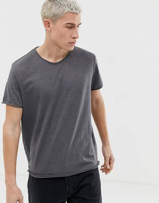 Weekday Dark t-shirt with raw edge in gray