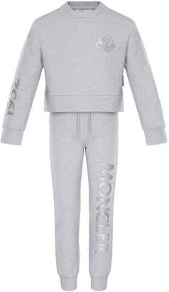 Moncler Heathered Sweatshirt w/ Matching Logo Sweatpants, Size 8-14