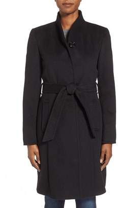 Women's Ellen Tracy Belted Wool Blend Stand Collar Coat $360 thestylecure.com