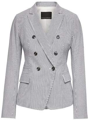 Banana Republic Petite Double Breasted-Fit Seersucker Blazer