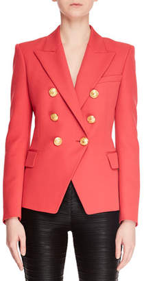 Balmain Classic Six-Button Grain de Poudre Blazer Jacket