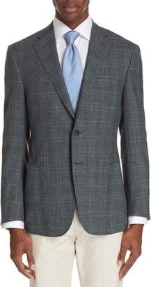 Canali Sienna Classic Fit Plaid Wool Blend Sport Coat