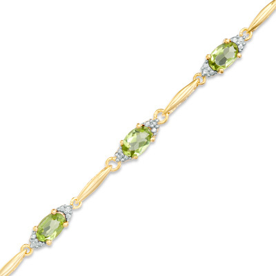 """Oval Peridot and Diamond Accent Bracelet in 10K Gold Vermeil - 7.25"""""""