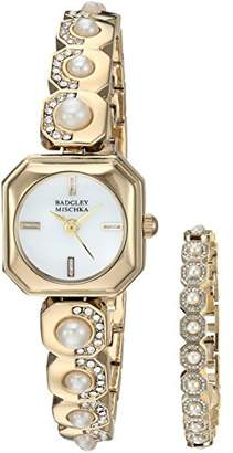 Badgley Mischka Women's BA/1376GBST Swarovski Crystal Accented -Tone Watch and Bracelet Set
