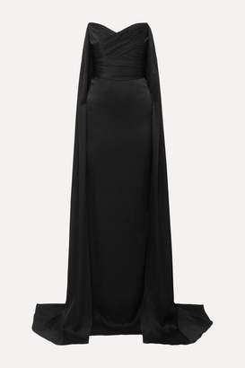 Alex Perry Fletcher Strapless Draped Satin-crepe Gown - Black
