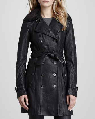 Burberry Shearling-Collar Leather Trenchcoat