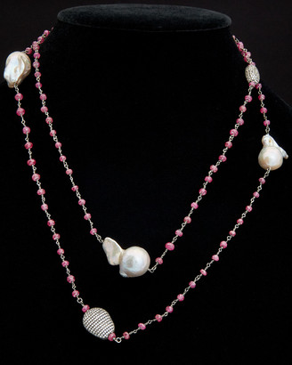 Meira T Silver Ruby & Pearl Necklace