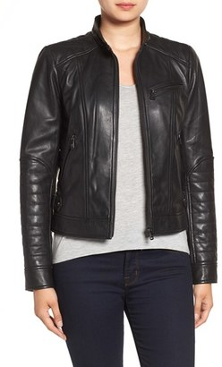 Women's Bernardo Quilted Leather Moto Jacket $360 thestylecure.com