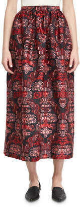 Oscar de la Renta Jacquard Tea-Length Midi Skirt, Red/Blue Pattern