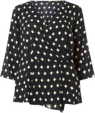 Dorothy Perkins Womens **Dp Curve Navy Geometric Print Mock Wrap Top