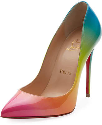 Christian Louboutin Pigalle Follies 100mm Ombre Patent Red Sole Pump