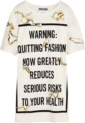 Moschino - Printed Satin Mini Dress - White $895 thestylecure.com