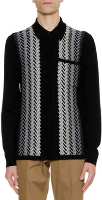 Lanvin Men's Fading Chevron Jacquard Knit Wool Sweater Shirt